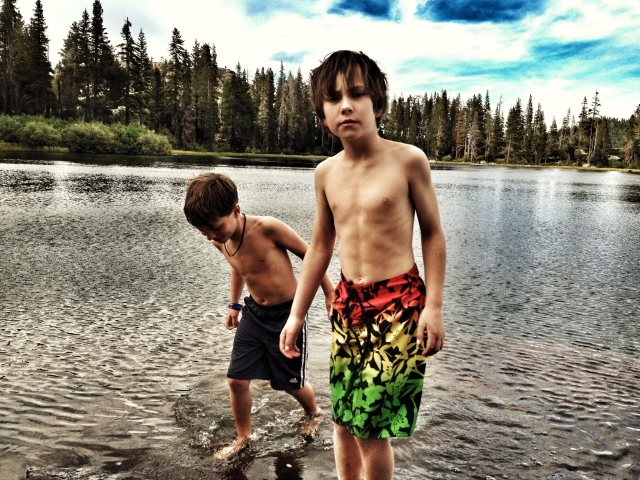 Gus and Stephen going for a swim before bed.