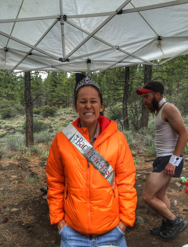 The smiling bachelorette at her aid station