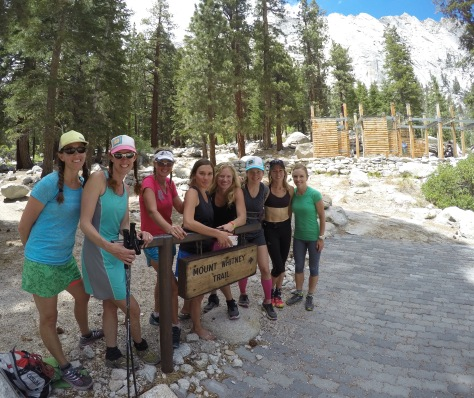 Janel, Gretchen, Betsy, Brittany, Angela, Jenelle, Claire, and Audrey at the trailhead