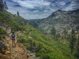 Gretchen heading down the PCT towards Donner Pass