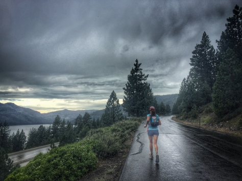 running up Richard's Blvd in the rain, with views of Donner Lake and the ridges we had conquered.