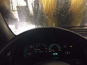 the view from inside a broken car wash
