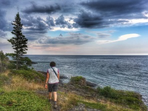 my mom hiking along Lake Superior