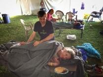 Steve keeping me warm and feeding me bacon. Photo: Tina Frizner